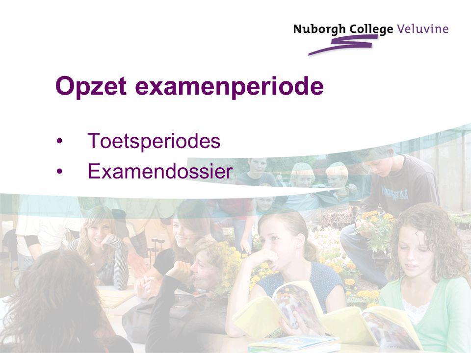 Opzet examenperiode Toetsperiodes Examendossier