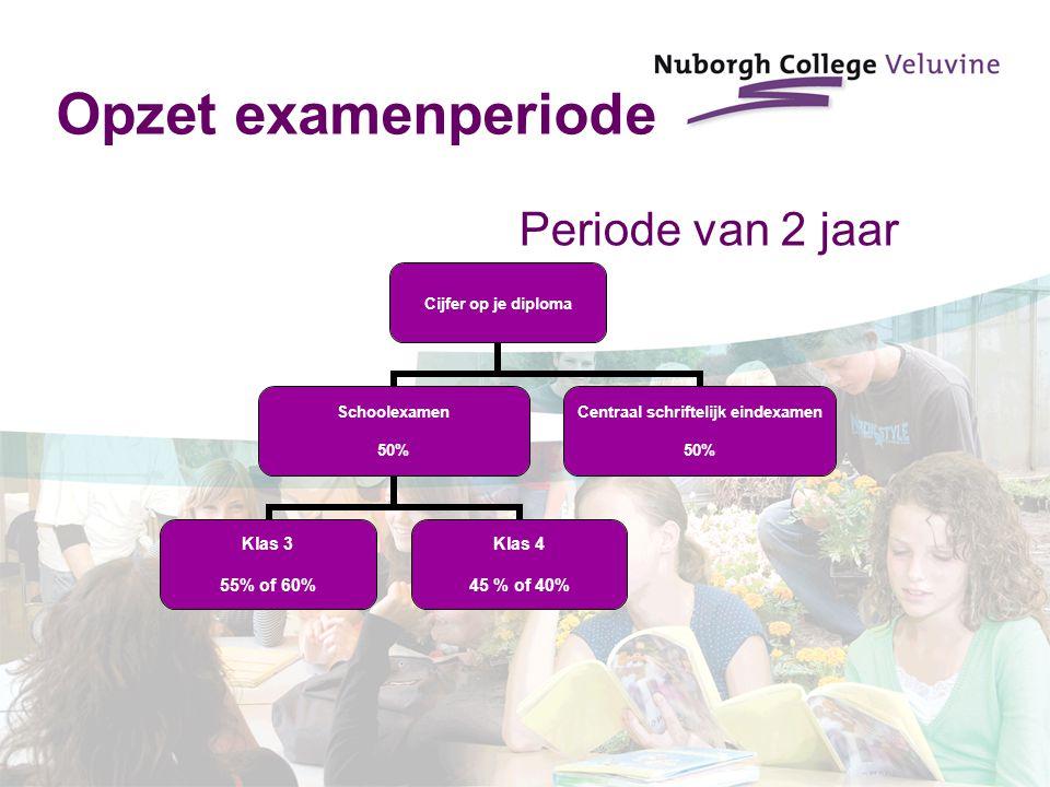 Opzet examenperiode Periode van 2 jaar