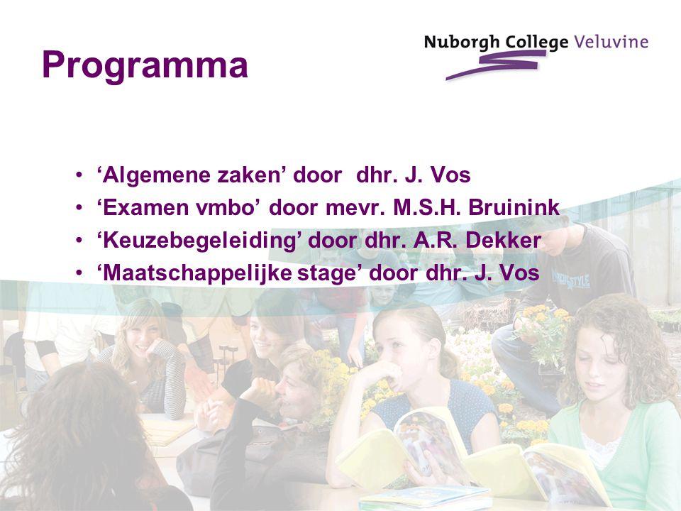 Programma 'Algemene zaken' door dhr. J. Vos