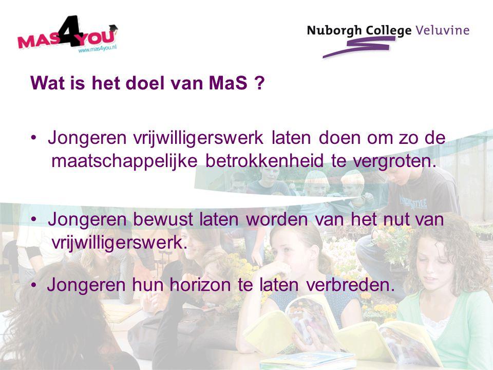 Wat is het doel van MaS Jongeren vrijwilligerswerk laten doen om zo de. maatschappelijke betrokkenheid te vergroten.