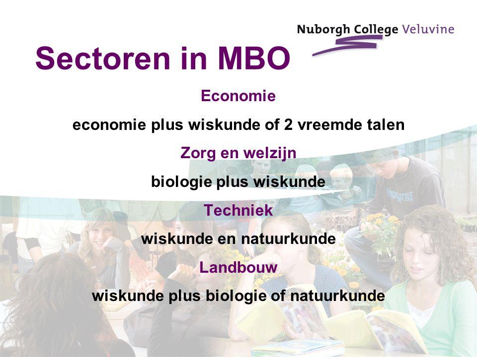 Sectoren in MBO Economie economie plus wiskunde of 2 vreemde talen