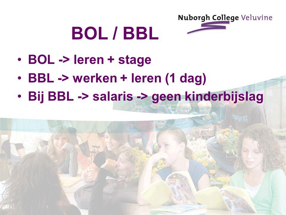 BOL / BBL BOL -> leren + stage BBL -> werken + leren (1 dag)