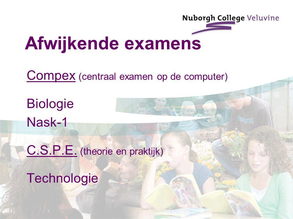 Afwijkende examens Compex (centraal examen op de computer) Biologie