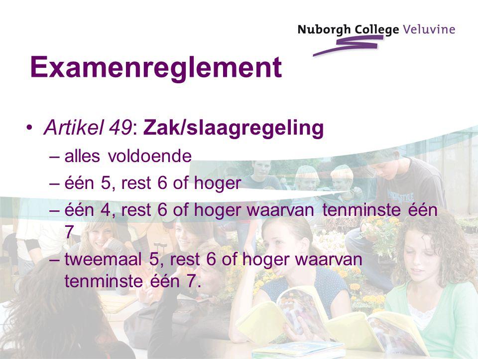 Examenreglement Artikel 49: Zak/slaagregeling alles voldoende