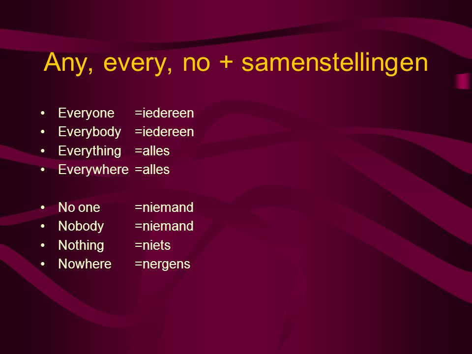 Any, every, no + samenstellingen