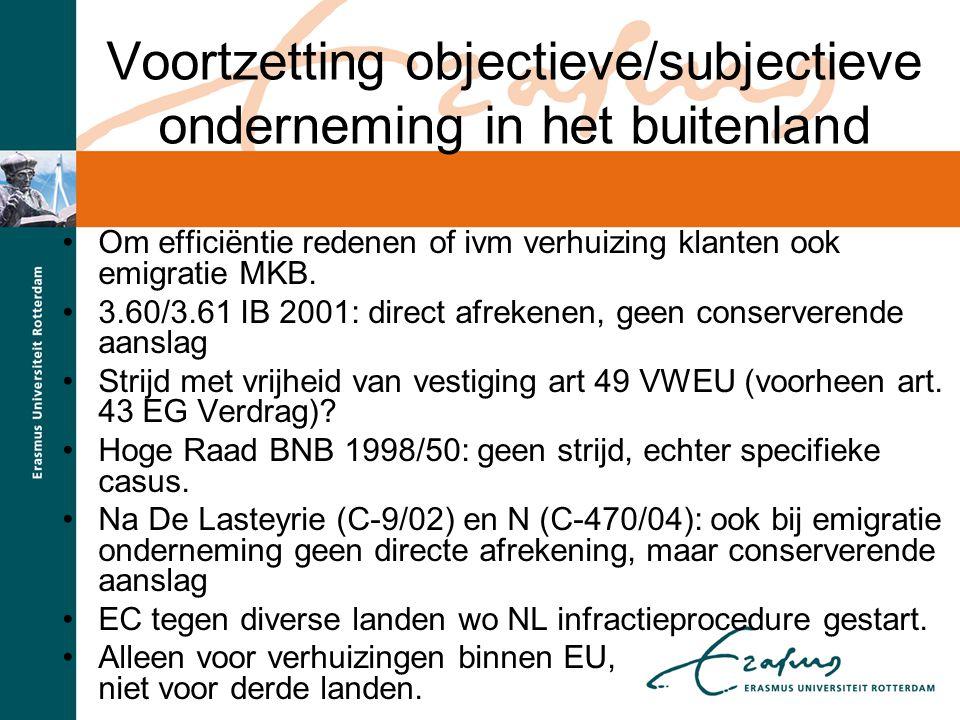 Voortzetting objectieve/subjectieve onderneming in het buitenland
