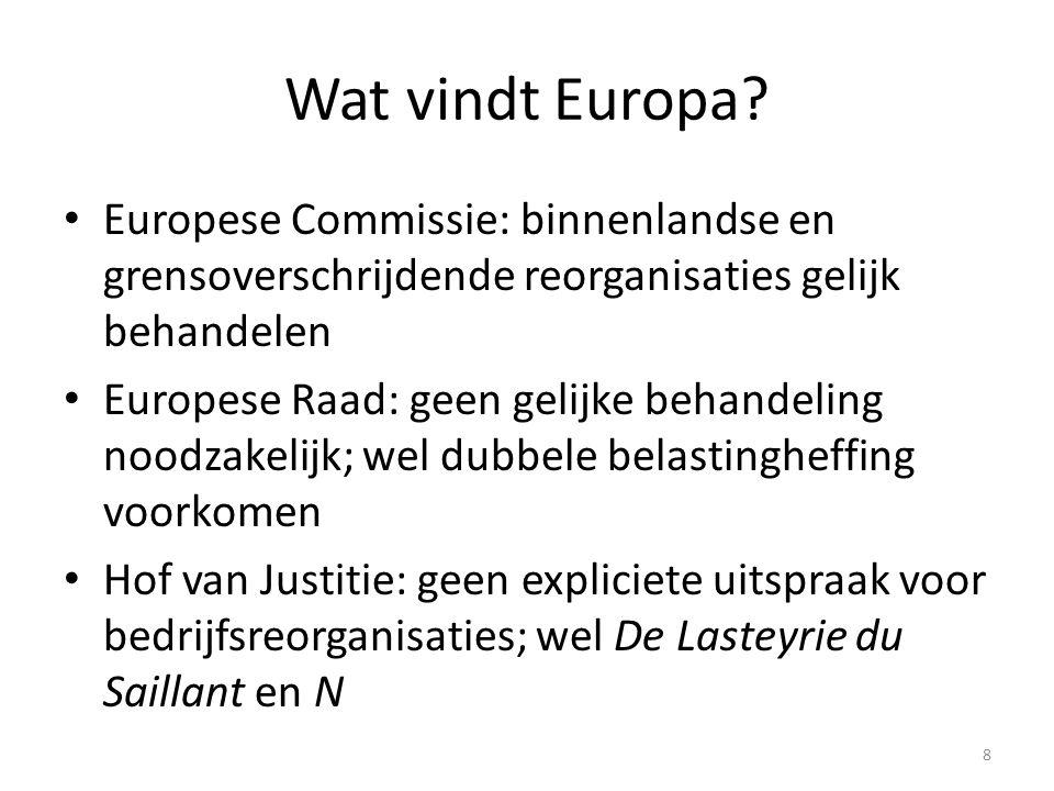 Wat vindt Europa Europese Commissie: binnenlandse en grensoverschrijdende reorganisaties gelijk behandelen.