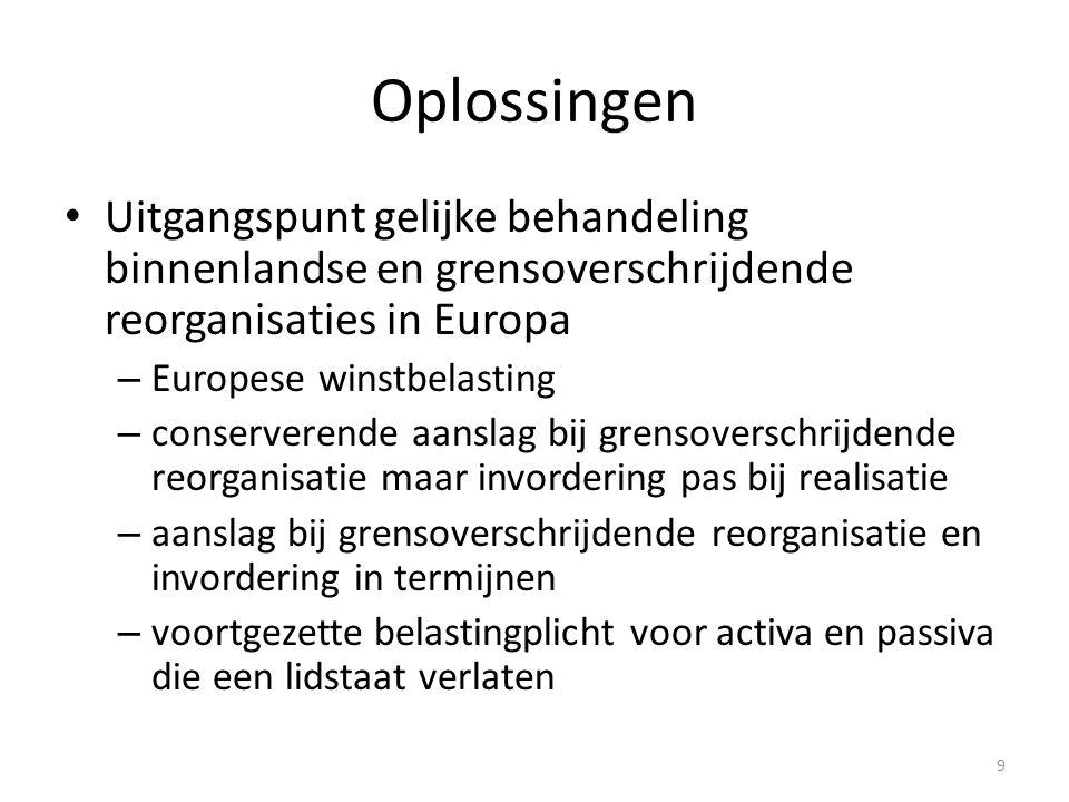Oplossingen Uitgangspunt gelijke behandeling binnenlandse en grensoverschrijdende reorganisaties in Europa.