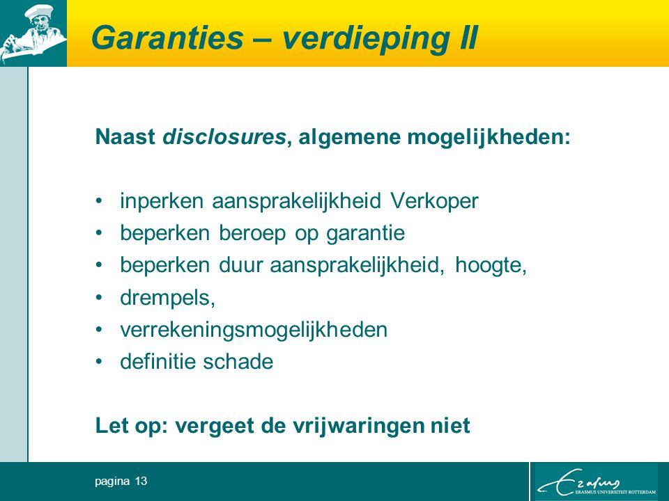 Garanties – verdieping II