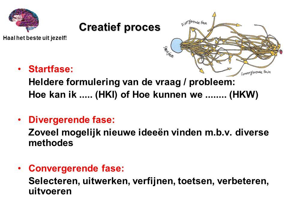 Creatief proces Startfase: