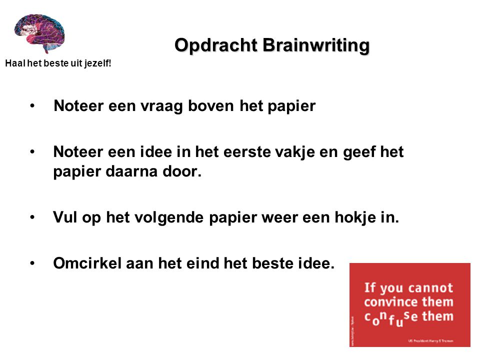 Opdracht Brainwriting