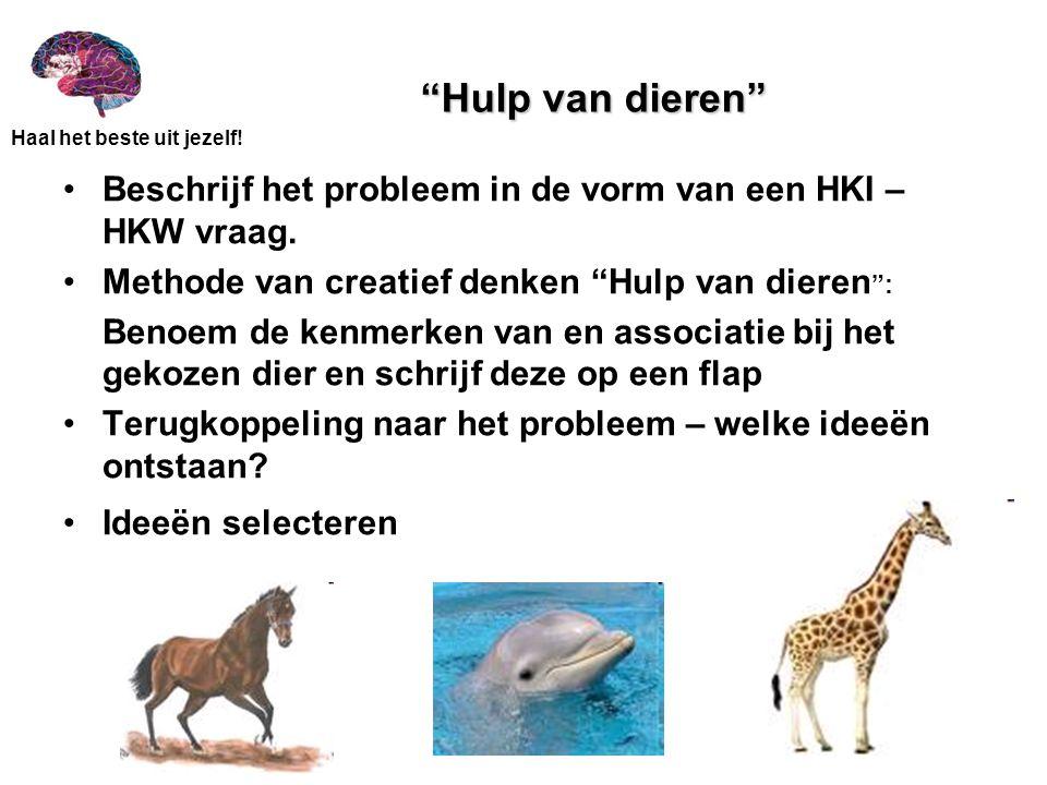 Hulp van dieren Beschrijf het probleem in de vorm van een HKI – HKW vraag. Methode van creatief denken Hulp van dieren :