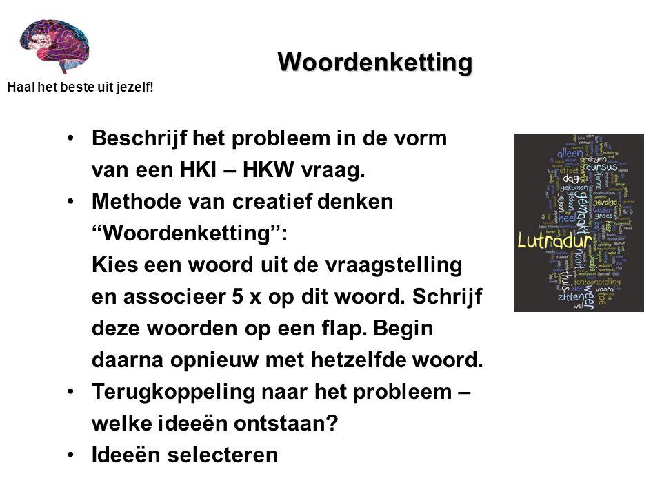 Woordenketting Beschrijf het probleem in de vorm van een HKI – HKW vraag. Methode van creatief denken Woordenketting :