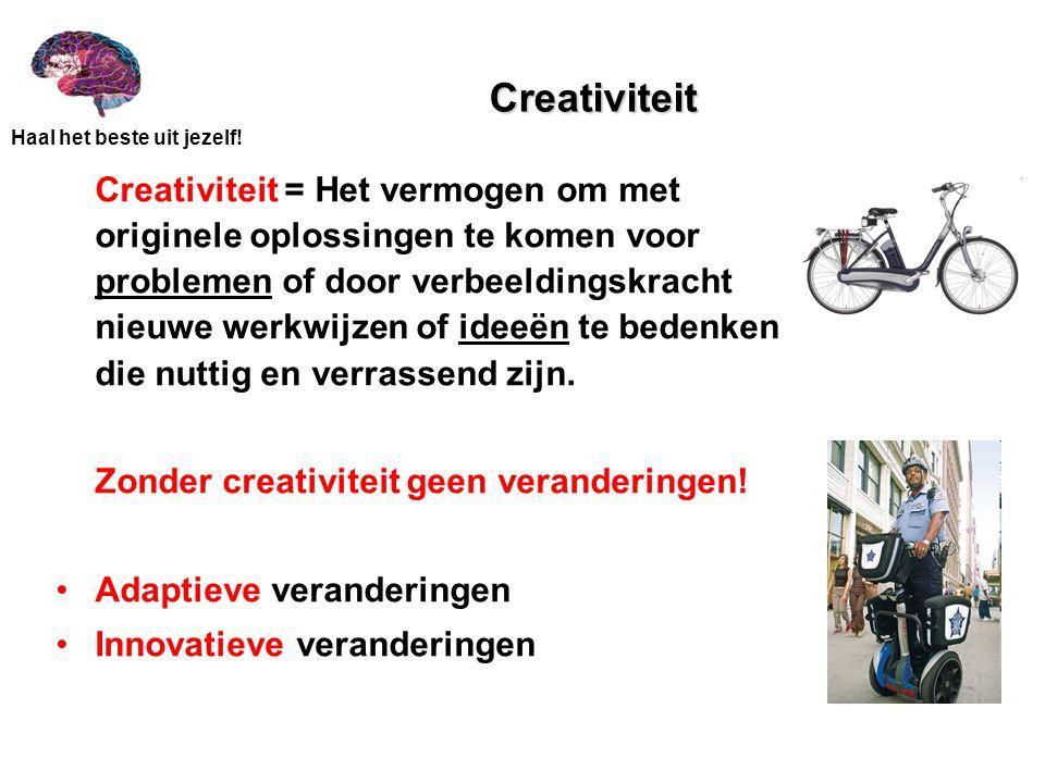 Creativiteit Zonder creativiteit geen veranderingen!