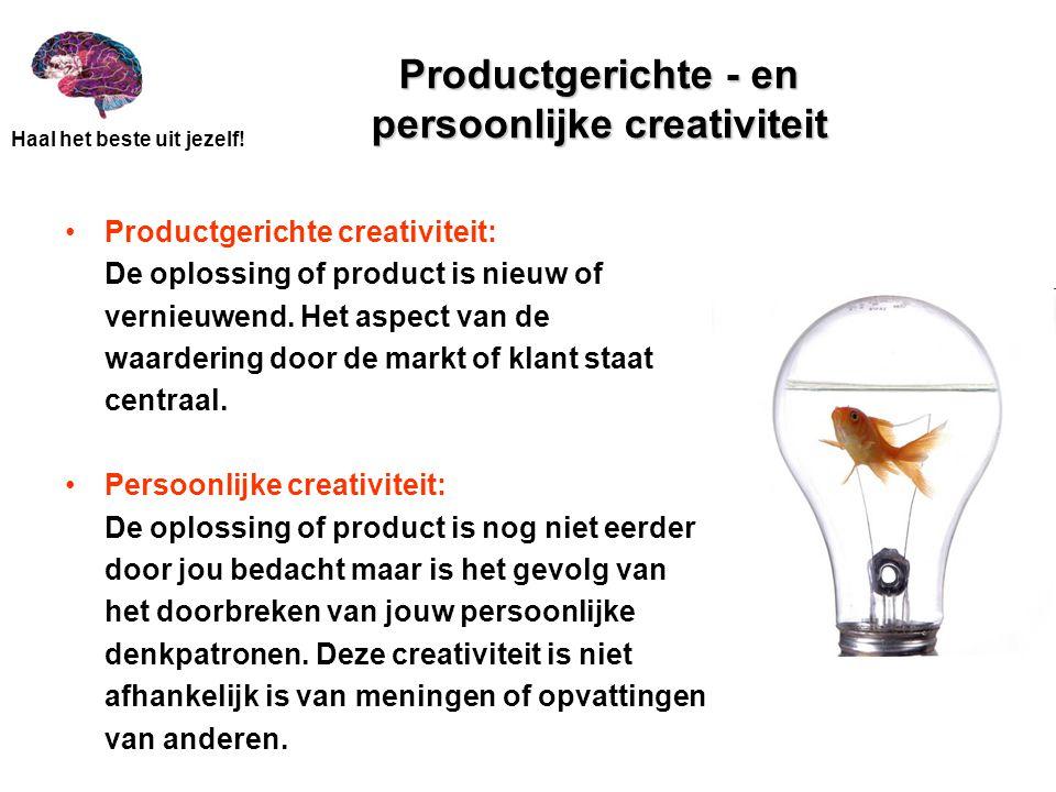 Productgerichte - en persoonlijke creativiteit