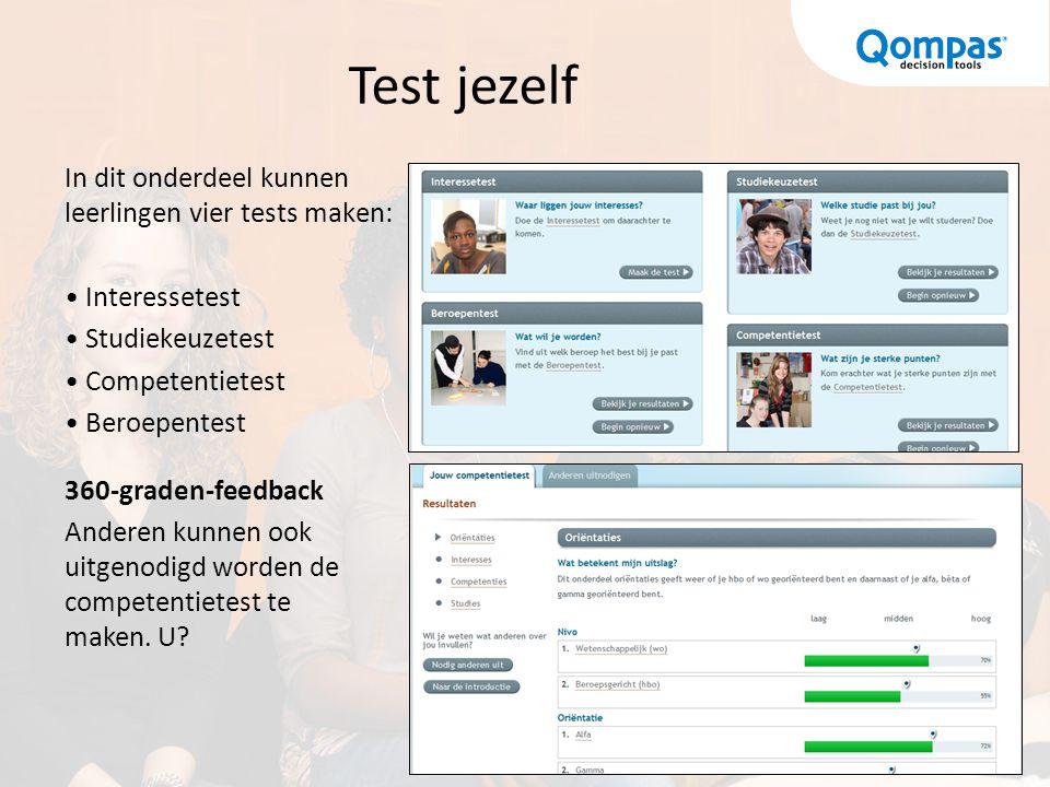 Test jezelf In dit onderdeel kunnen leerlingen vier tests maken: