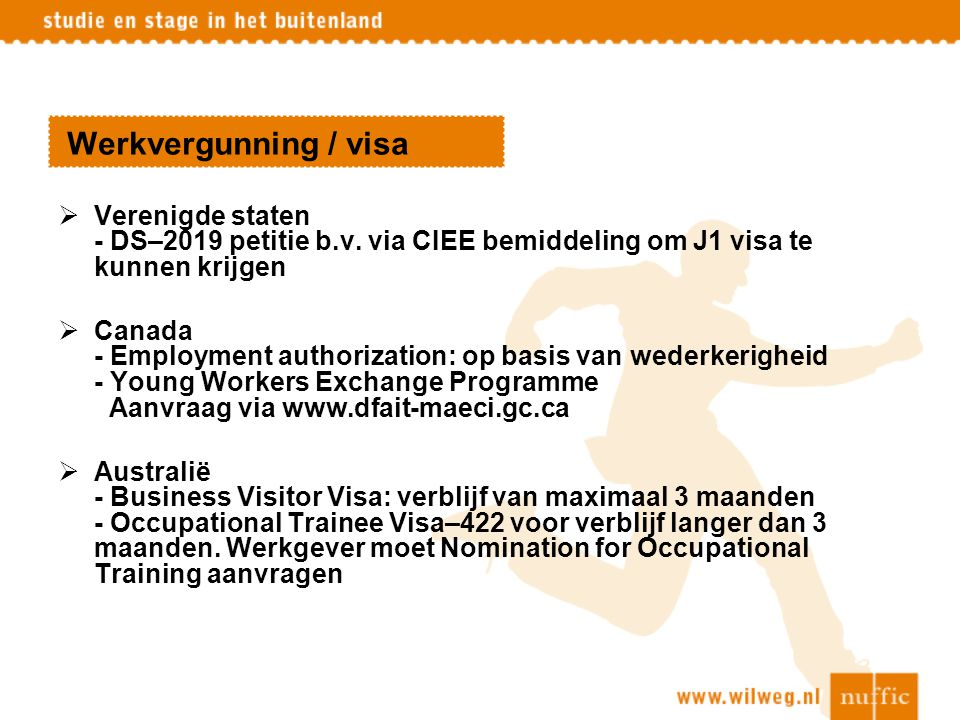 Werkvergunning / visa Verenigde staten - DS–2019 petitie b.v. via CIEE bemiddeling om J1 visa te kunnen krijgen.
