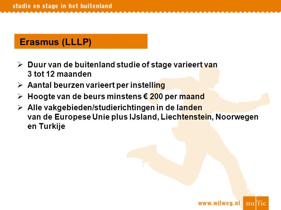 Erasmus (LLLP) Duur van de buitenland studie of stage varieert van 3 tot 12 maanden. Aantal beurzen varieert per instelling.