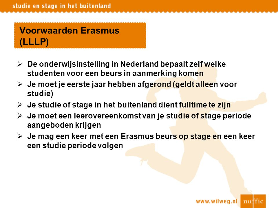 Voorwaarden Erasmus (LLLP)