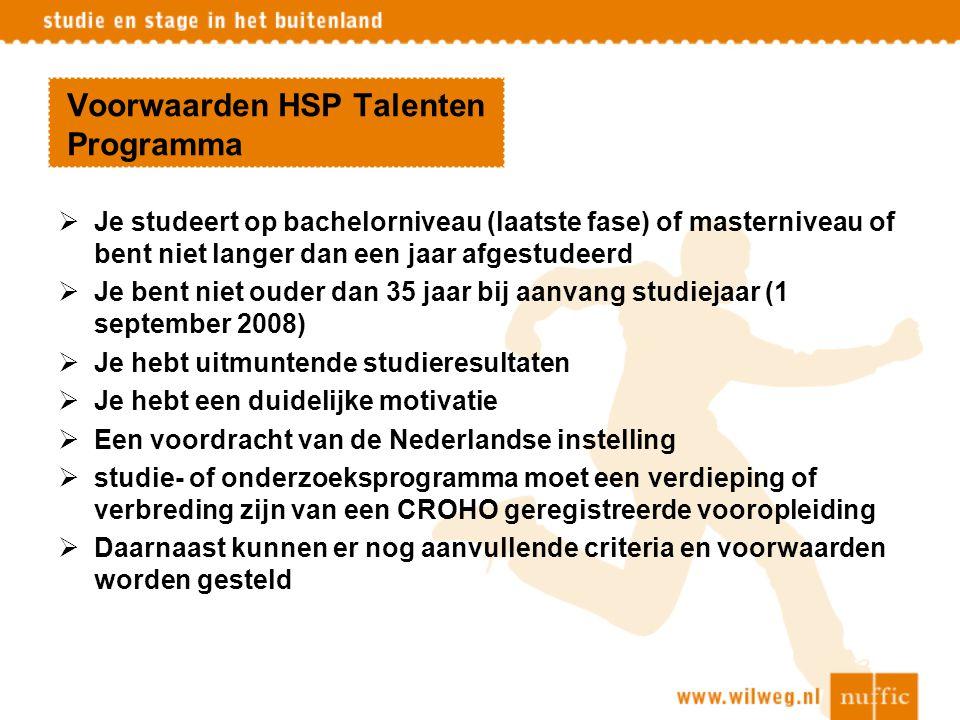 Voorwaarden HSP Talenten Programma
