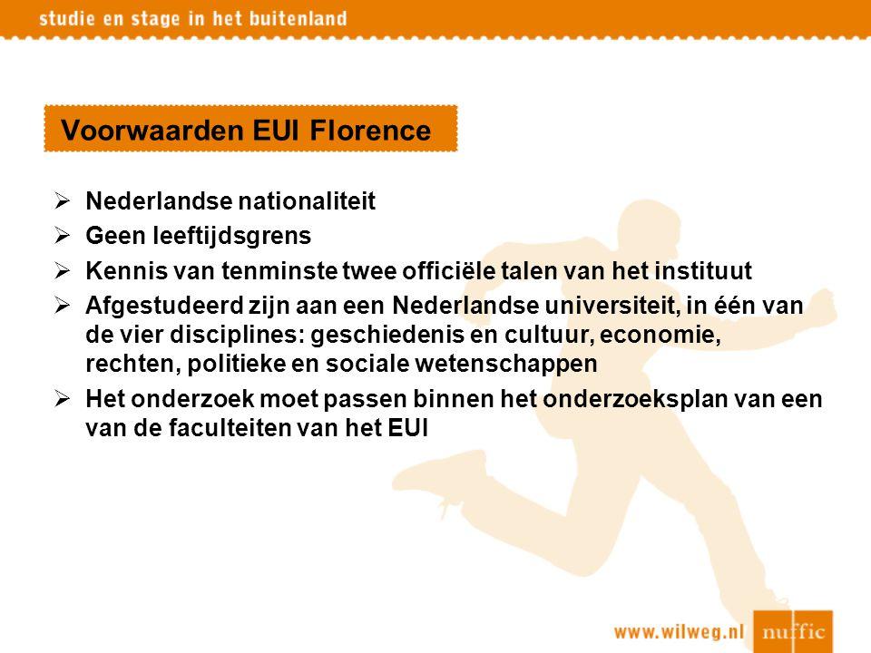 Voorwaarden EUI Florence