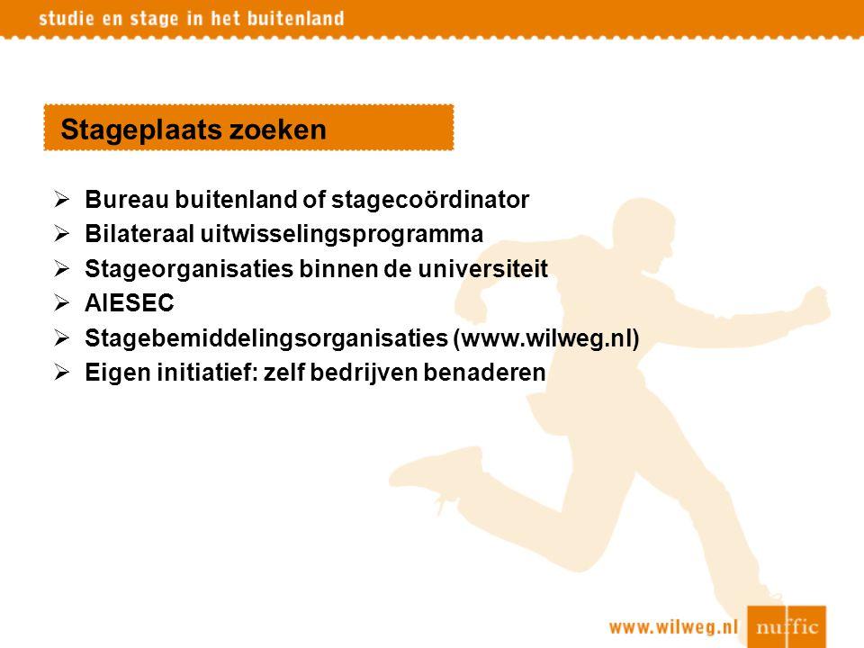 Stageplaats zoeken Bureau buitenland of stagecoördinator