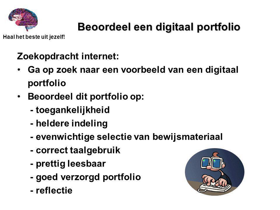 Beoordeel een digitaal portfolio