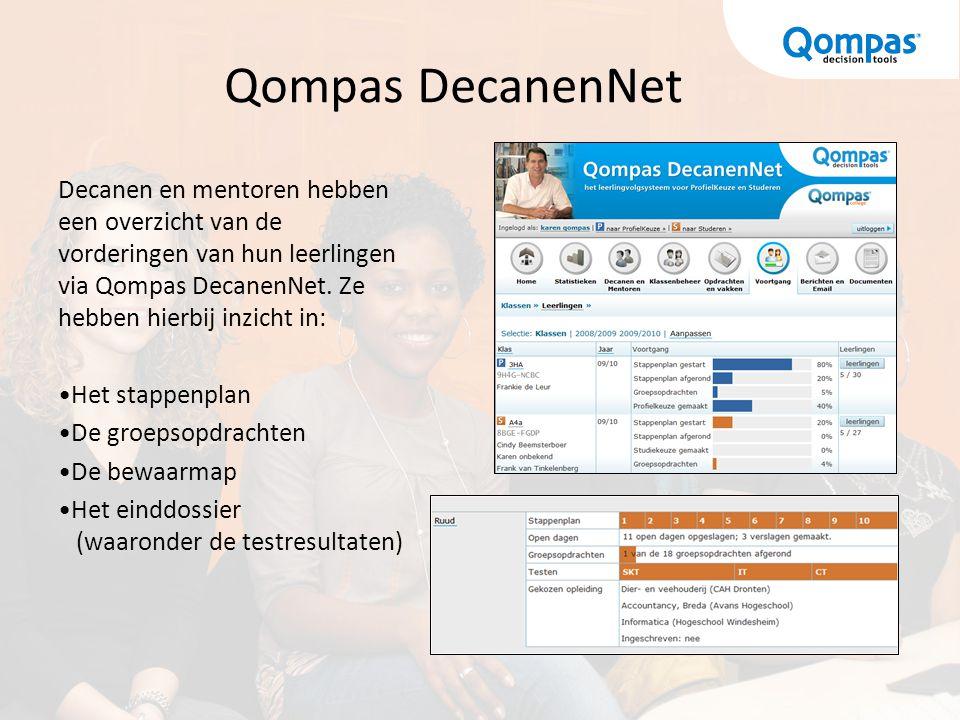 Qompas DecanenNet Decanen en mentoren hebben een overzicht van de vorderingen van hun leerlingen via Qompas DecanenNet. Ze hebben hierbij inzicht in:
