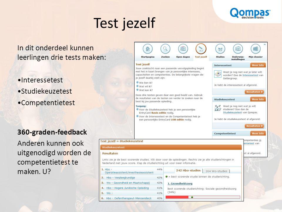 Test jezelf In dit onderdeel kunnen leerlingen drie tests maken: