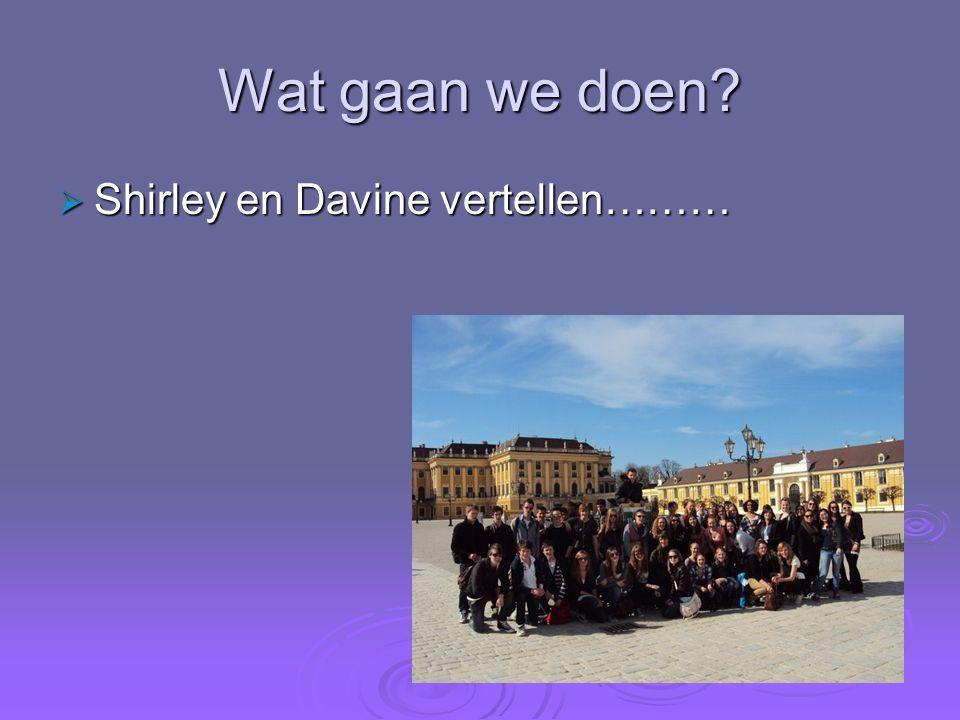 Wat gaan we doen Shirley en Davine vertellen………