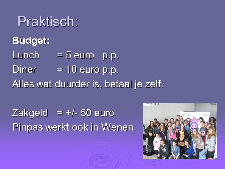 Praktisch: Budget: Lunch = 5 euro p.p. Diner = 10 euro p.p.