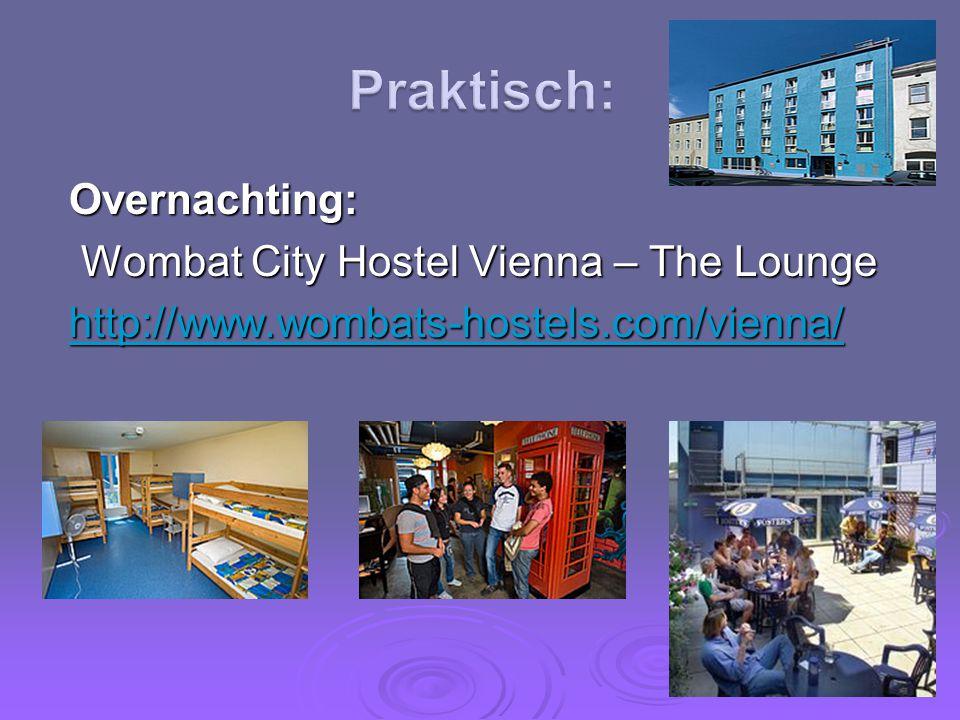 Praktisch: Overnachting: Wombat City Hostel Vienna – The Lounge http://www.wombats-hostels.com/vienna/