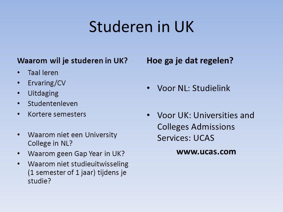 Studeren in UK Hoe ga je dat regelen Voor NL: Studielink