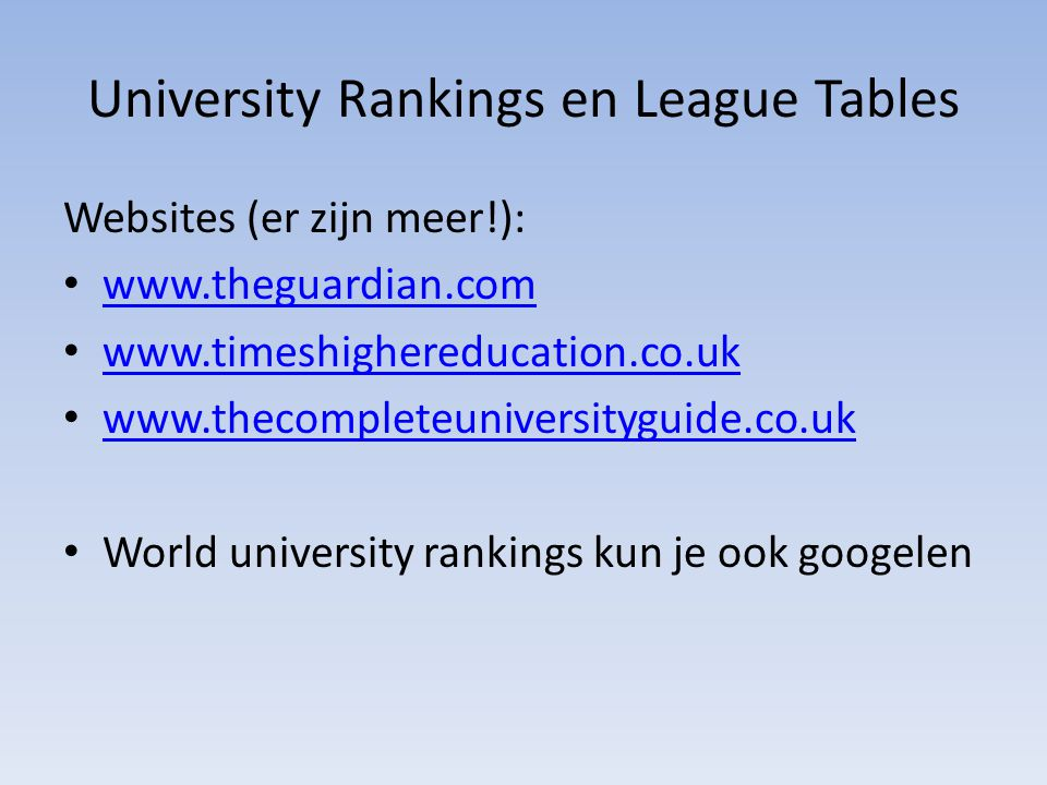 University Rankings en League Tables