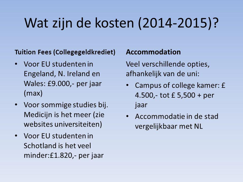 Wat zijn de kosten (2014-2015) Accommodation
