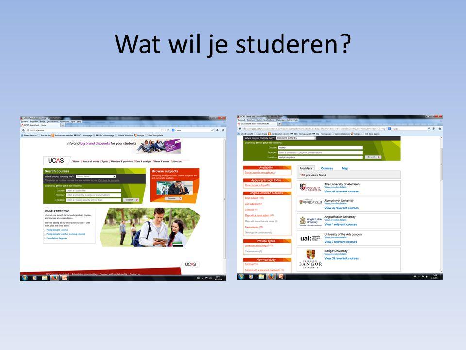 Wat wil je studeren