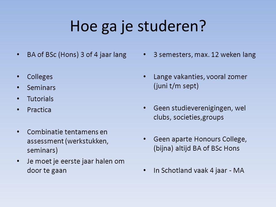 Hoe ga je studeren BA of BSc (Hons) 3 of 4 jaar lang Colleges