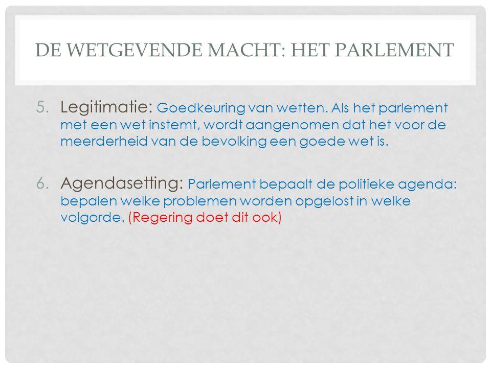 De Wetgevende macht: het parlement