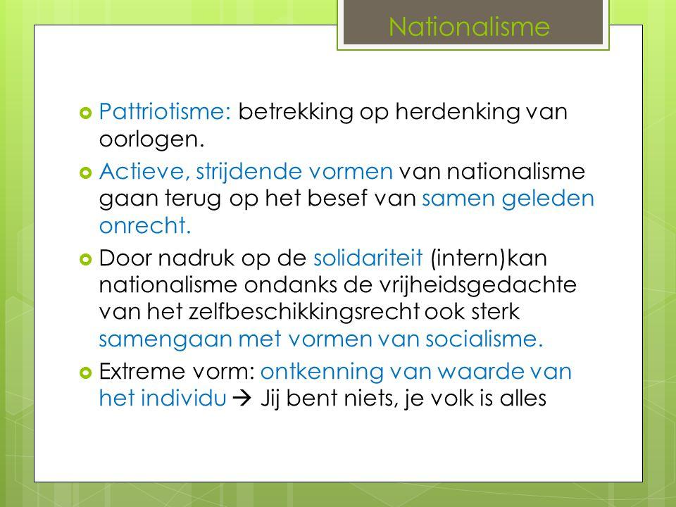 Nationalisme Pattriotisme: betrekking op herdenking van oorlogen.