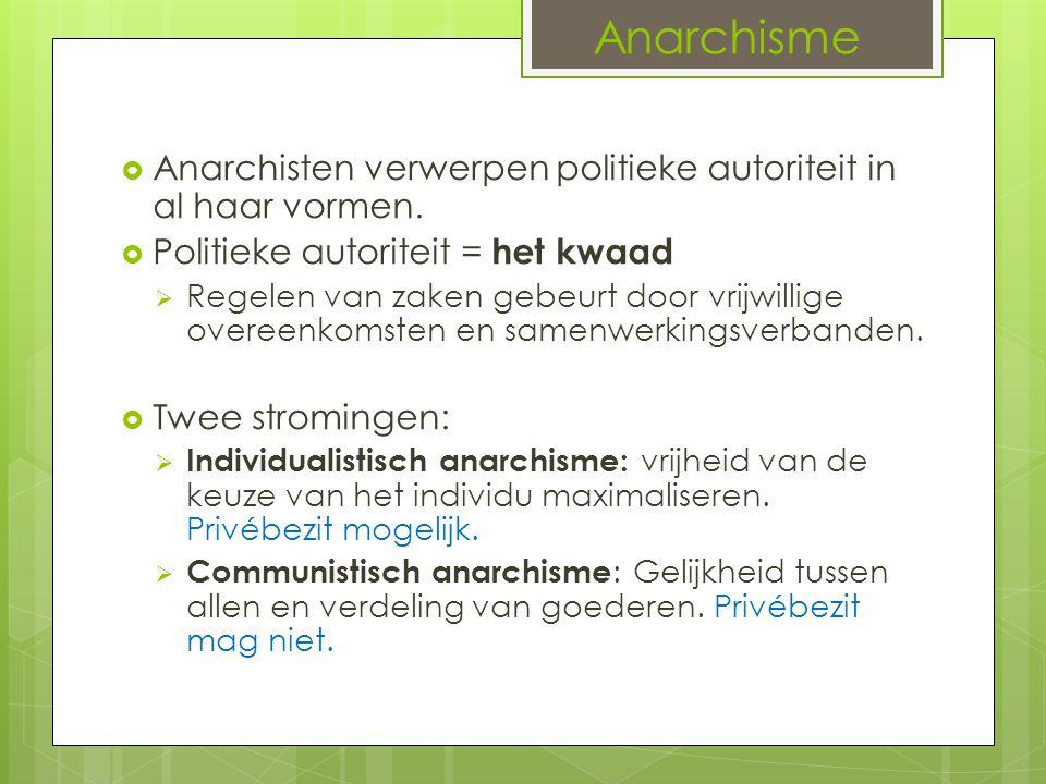 Anarchisme Anarchisten verwerpen politieke autoriteit in al haar vormen. Politieke autoriteit = het kwaad.