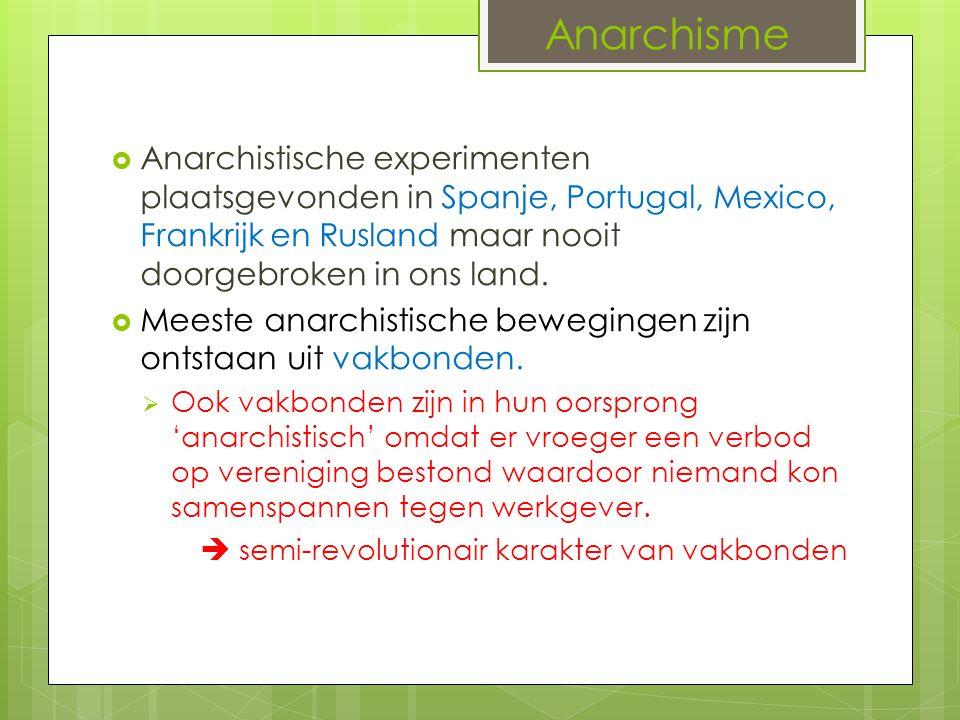 Anarchisme Anarchistische experimenten plaatsgevonden in Spanje, Portugal, Mexico, Frankrijk en Rusland maar nooit doorgebroken in ons land.