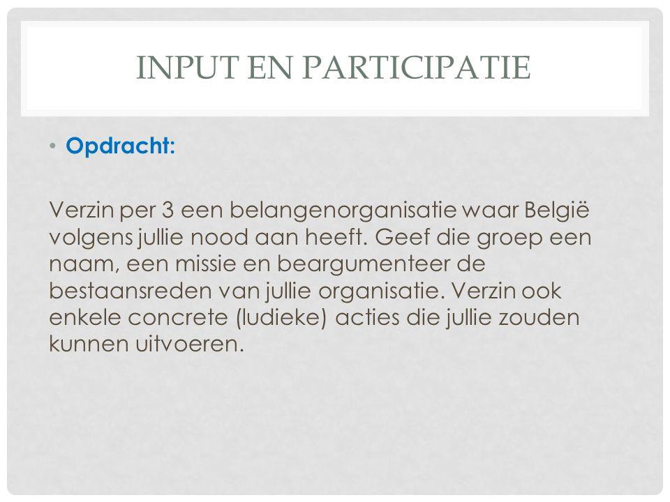 Input en participatie Opdracht: