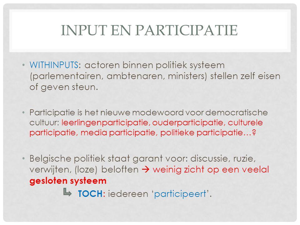 Input en participatie WITHINPUTS: actoren binnen politiek systeem (parlementairen, ambtenaren, ministers) stellen zelf eisen of geven steun.