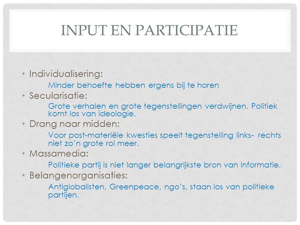 Input en participatie Individualisering: