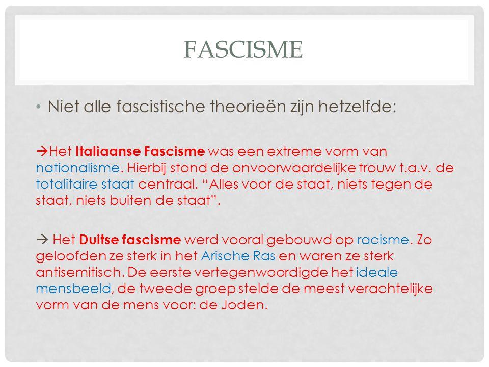 Fascisme Niet alle fascistische theorieën zijn hetzelfde: