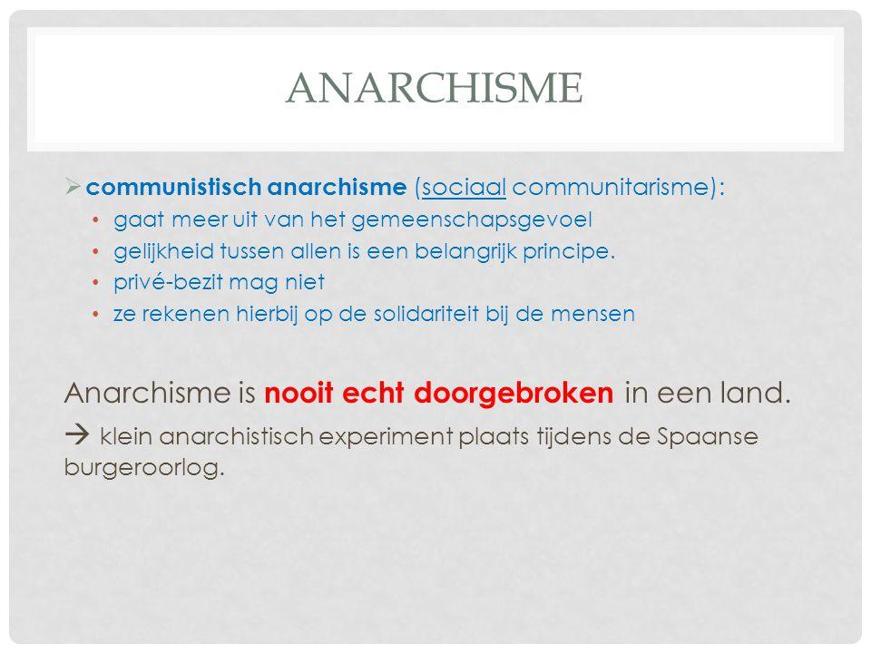 Anarchisme Anarchisme is nooit echt doorgebroken in een land.