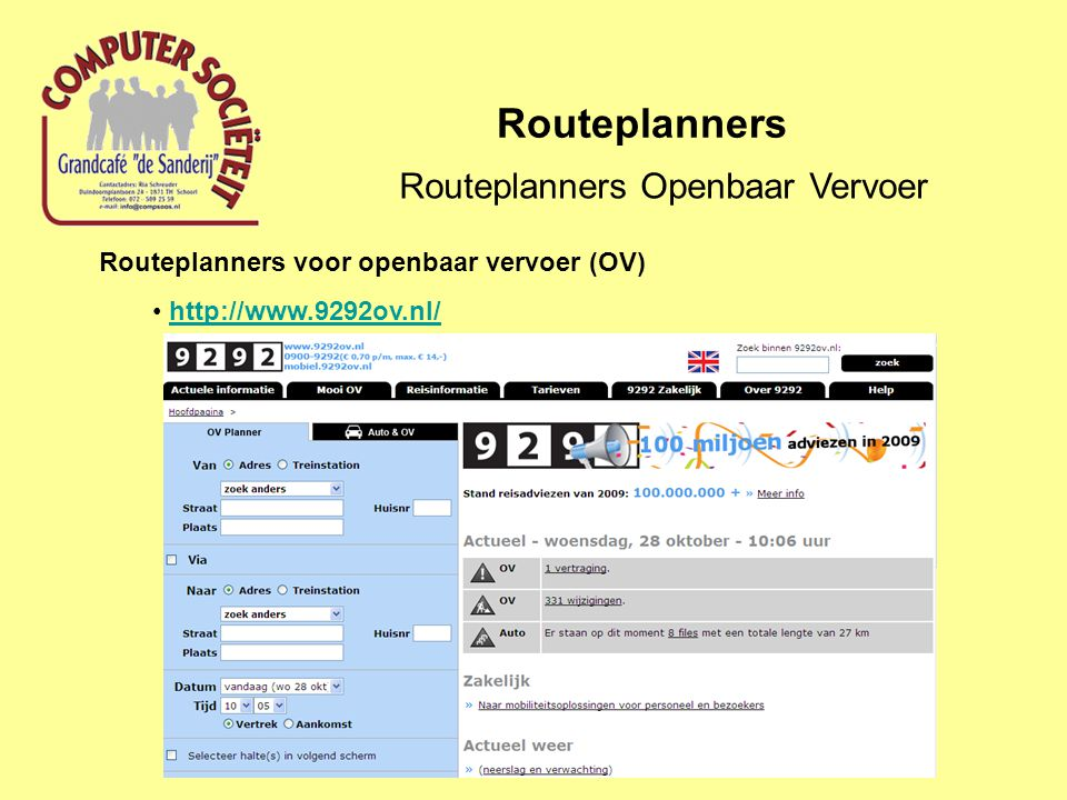 Routeplanners Openbaar Vervoer