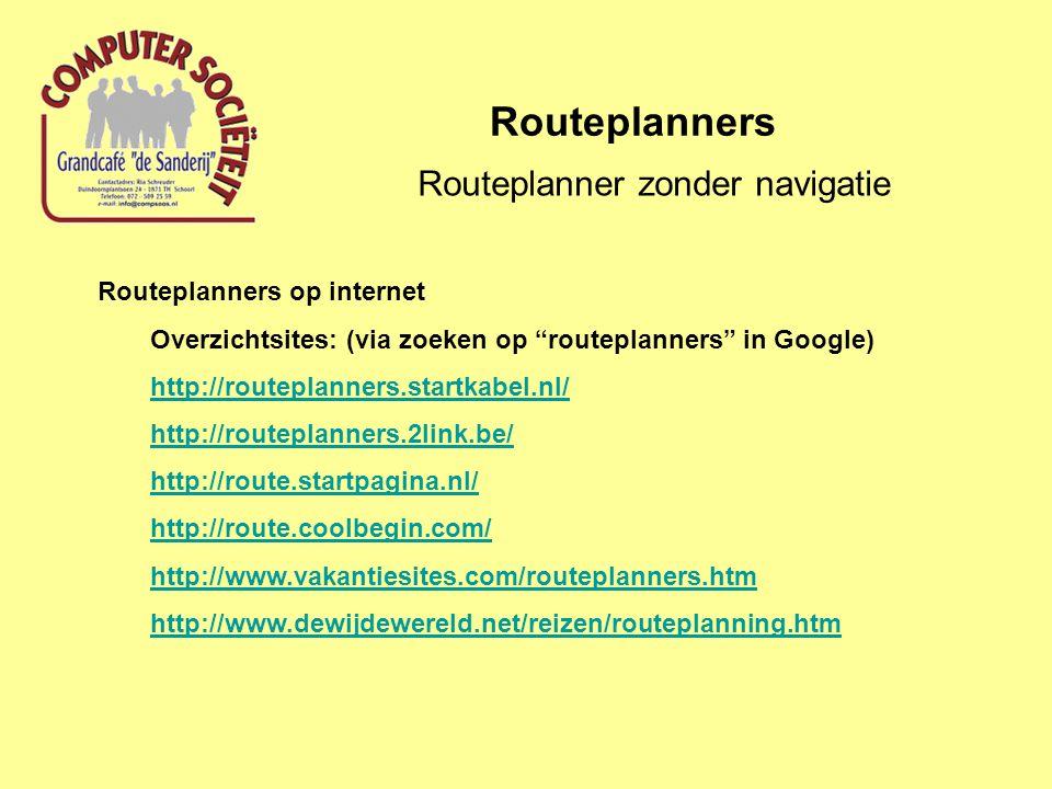 Routeplanner zonder navigatie