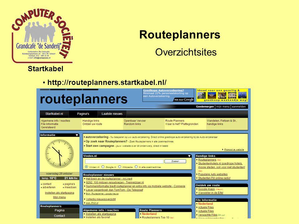 Routeplanners Overzichtsites Startkabel