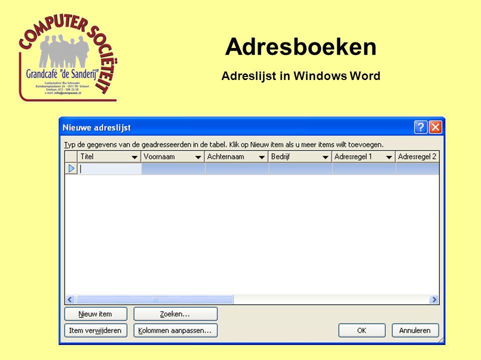 Adreslijst in Windows Word